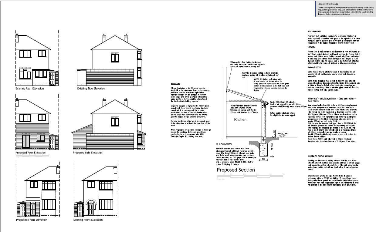 House extension plans examples gallery for House extension drawings